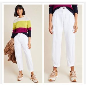 NWT Anthropologie Laurie Cargo White Harem Pants M